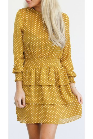 Tahlia Dot Dress - Curry