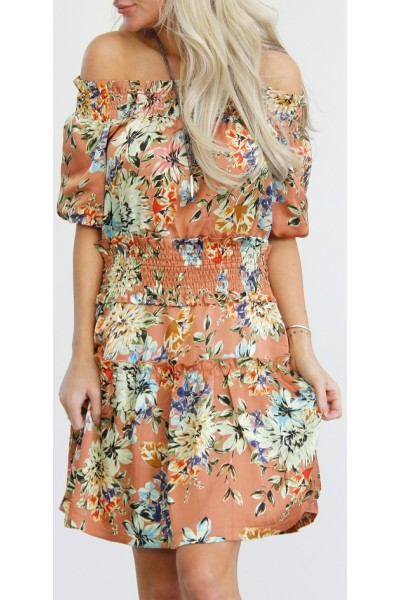 Claria Flower Dress - Orange