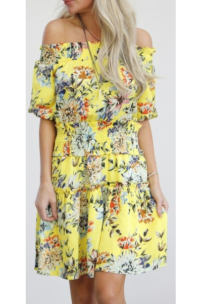 Claria Flower Dress - Yellow