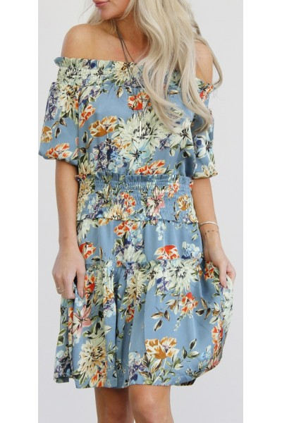 Claria Flower Dress - Blue Dust