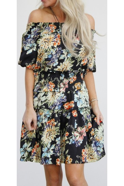 Claria Flower Dress - Black