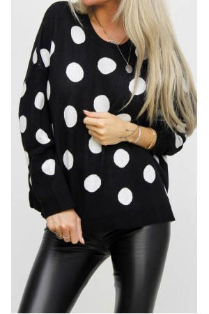 Simona Dot Knit - Black