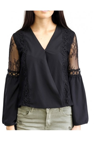 Leonora Lace Shirt - Black