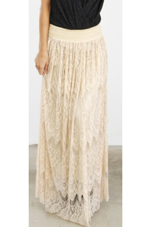 Cilla Long Skirt - Nude