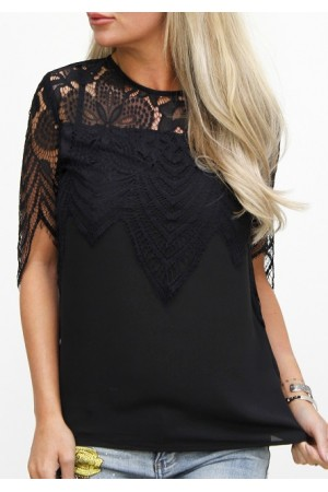 Lenka Lace Shirt - Black