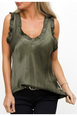 Ciana Shiny Top - Khaki