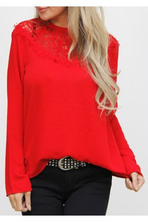Silma Lace Shirt - Red