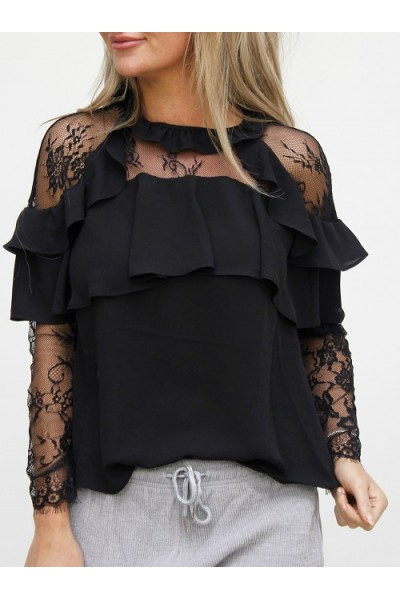 Mandy Lace Shirt - Black