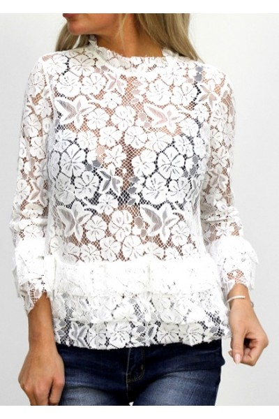 Cecia Lace Shirt - White