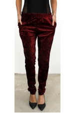 Loris Velour Pants - Bordeaux