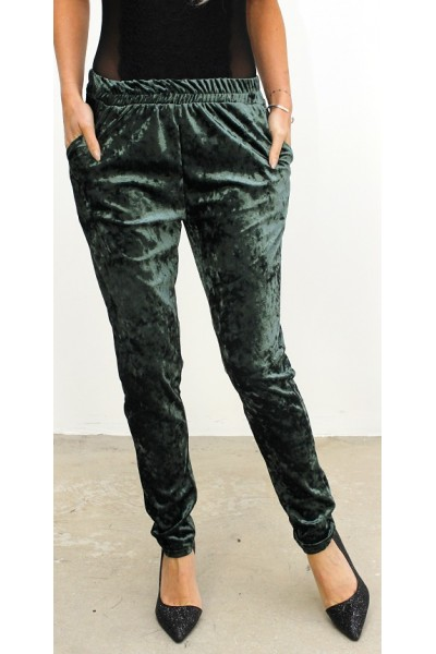 Loris Velour Pants - Green