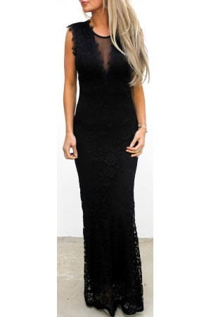 Julla Long Lace Dress - Black