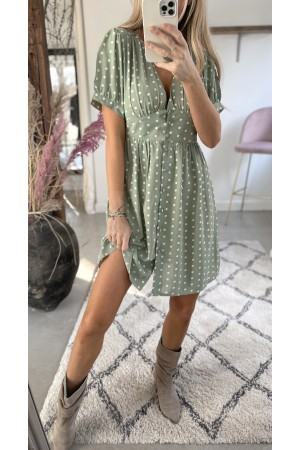 Carmen Dot Dress - Green