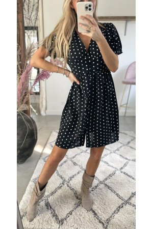 Carmen Dot Dress - Black