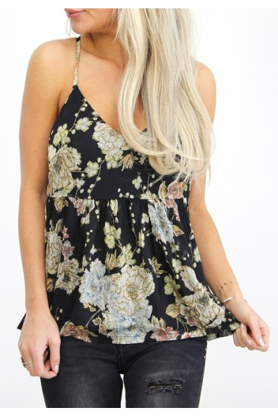 Gry Flower Top - Black