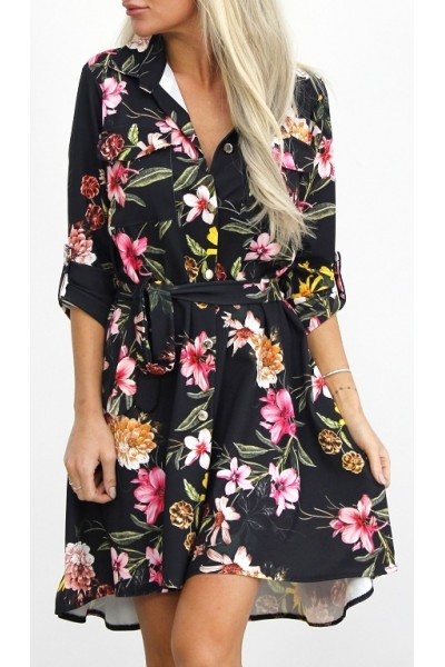Meeta Flower Dress - Black