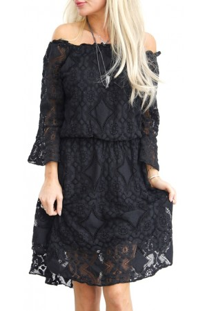 Sophia Lace Dress - Black