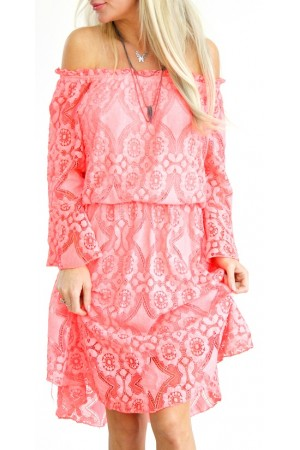 Sophia Lace Dress - Coral