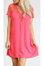 Biana Short Dress  - Coral