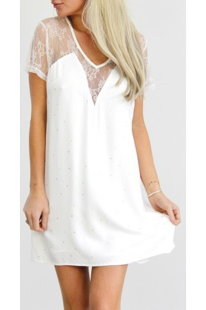 Biana Short Dress  -White