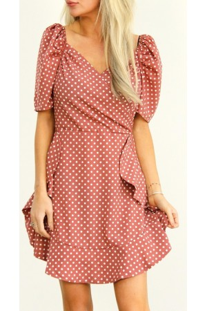 Nancy Dot Dress - Old Rose