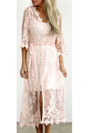 Pino Lace Dress - Rose