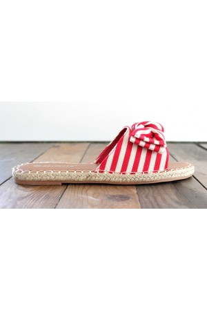 Celina Stripe Sandals - Red