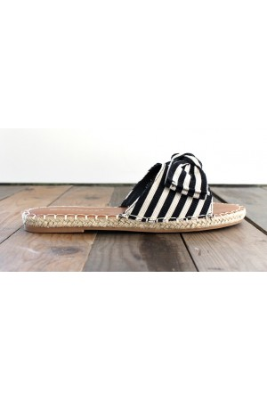 Celina Stripe Sandals - Black
