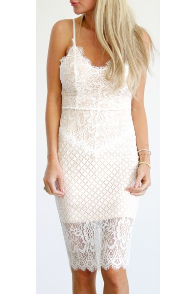 Brina Lace Dress - White