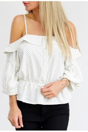 Trina Dot Shirt - White