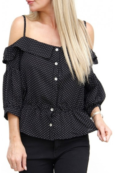 Trina Dot Shirt - Black