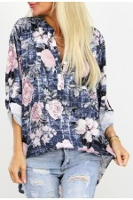 Vilo Flower Shirt -  Marine