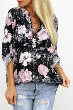Vilo Flower Shirt -  Black