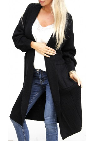 Pama Long Cardigan - Black