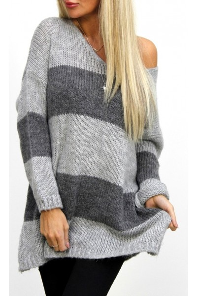 Serena Stripe Knit - Grey