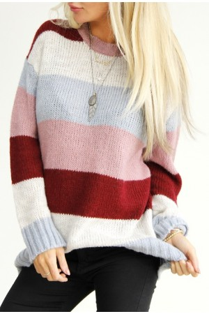 Albi Stripe Knit - Old Rose