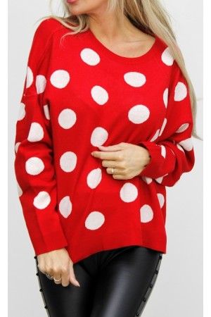 Simona Dot Knit - Red