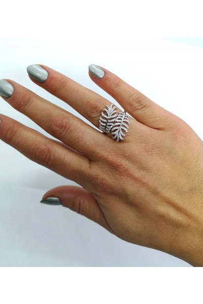 Stars By P - Leaf Ring - Silver