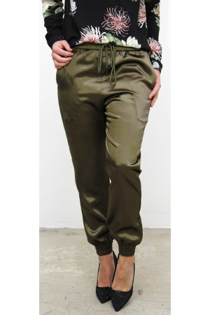 Nora Shiny Pants - Khaki