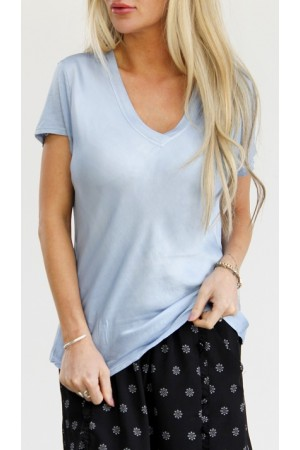 Cova Silk T-Shirt - Light Blue