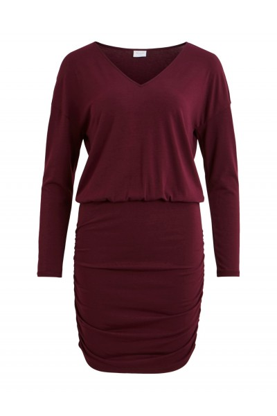 VILA - Vinico L/S V-Neck Dress - Winetasting