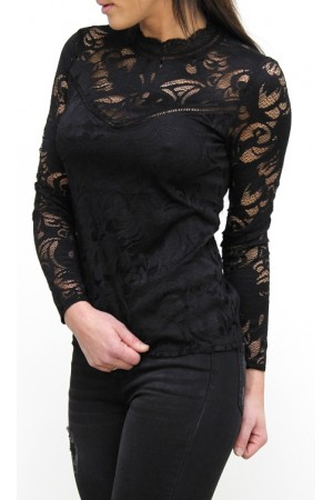 VILA - Vistasia L/S Lace Top - Black