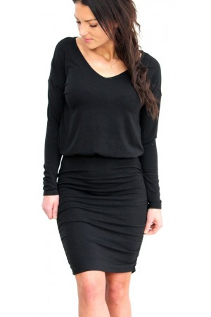 VILA - Vinico L/S V-Neck Dress - Black
