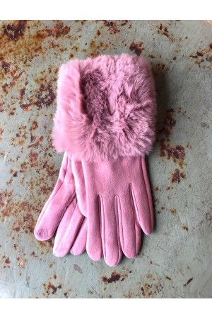 Mia Gloves with Fur - Rose