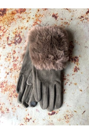 Mia Gloves with Fur - Khaki