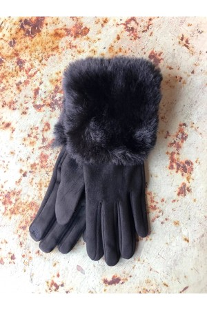 Mia Gloves with Fur - Black