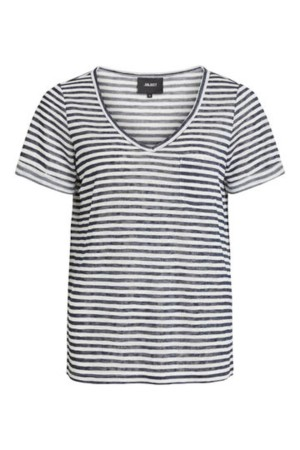 OBJECT - ObjTessi V-Neck - Blue Stripe
