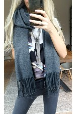OBJECT - ObjMarilyn Wool Scarf - Dark Grey Melange