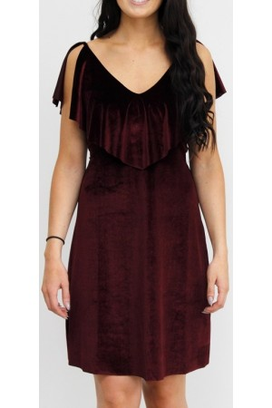 Monica Velour Dress - Bordeaux