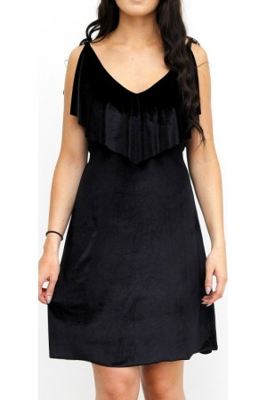 Monica Velour Dress - Black
